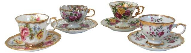 Rose Teacups & Saucers, Set of 4