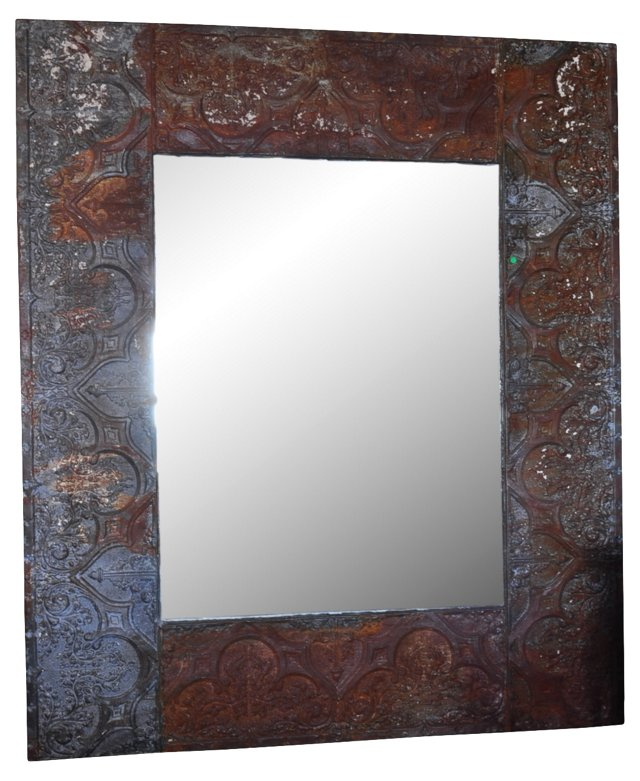 Large Mirror in Coffer Frame