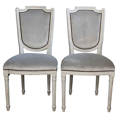 Reupholstered Dining Chairs, Pair
