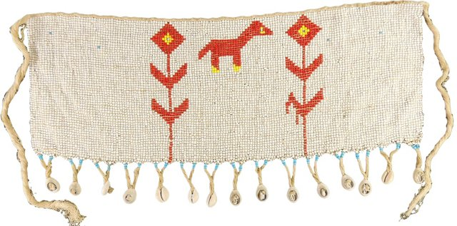 White Kirdi Cache-Sexe Apron Beaded