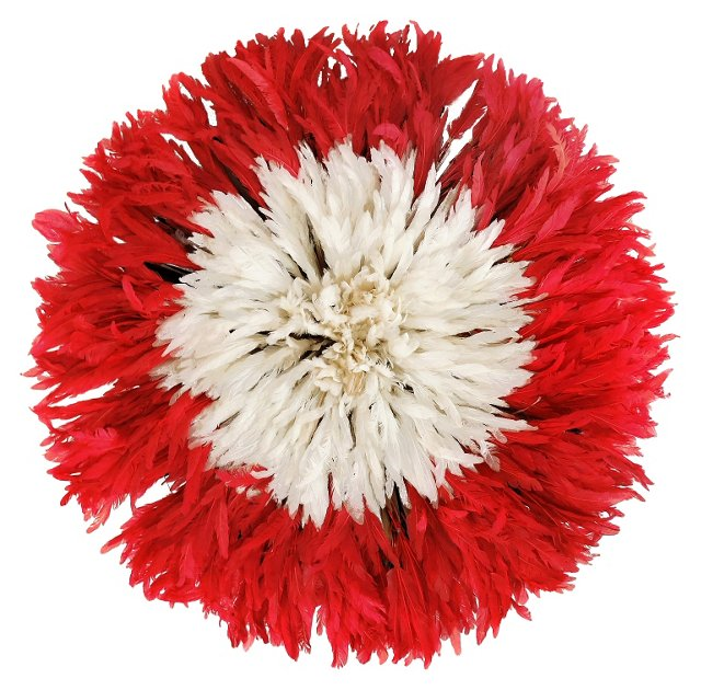 Red & White Juju Feather Headdress