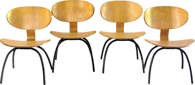 1950s French Chairs, Set of 4