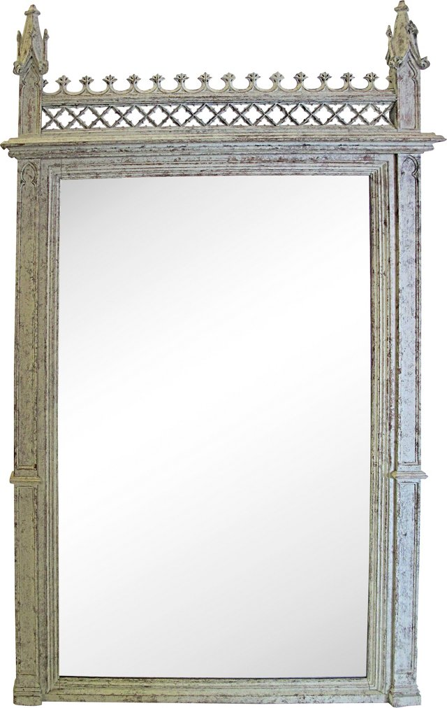 19th-C. Gothic-Style Oak Mirror