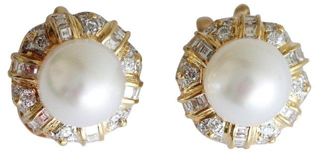 18K Gold, Diamond & Pearl Earrings