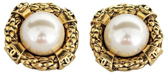 Oversize Chanel Logo Faux-Pearl Earrings