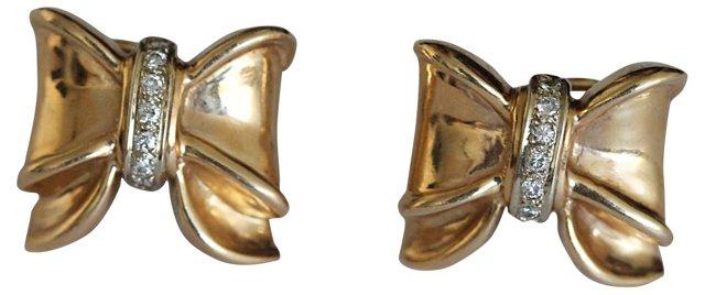 14K Gold Diamond Bow Design Earrings