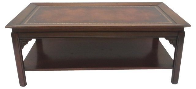 Chinoiserie  Coffee Table w/ Leather Top
