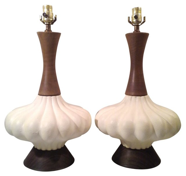 Textured Gourd Lamps, Pair