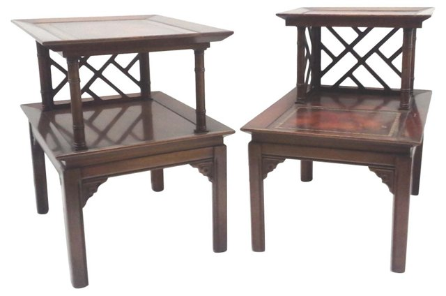 Fretwork & Faux-Bamboo End Tables, Pair