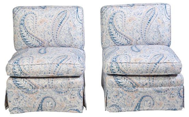 Paisley Linen Slipper Chairs, Pair