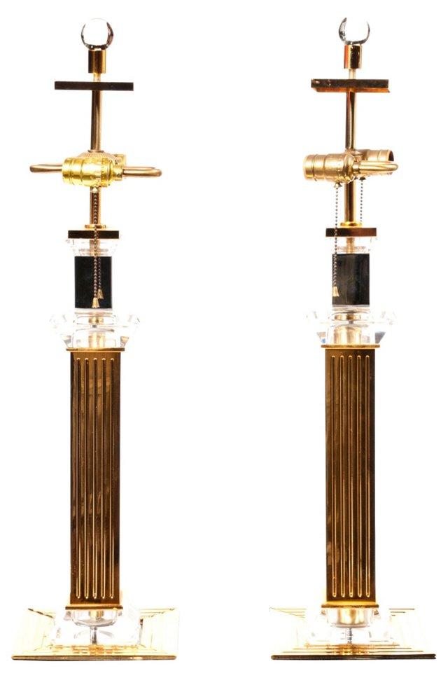 Brass & Glass Column Lamps, Pair