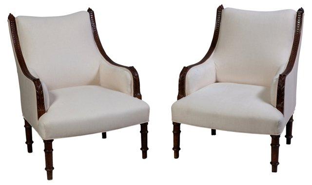 Antique English  Armchairs, Pair