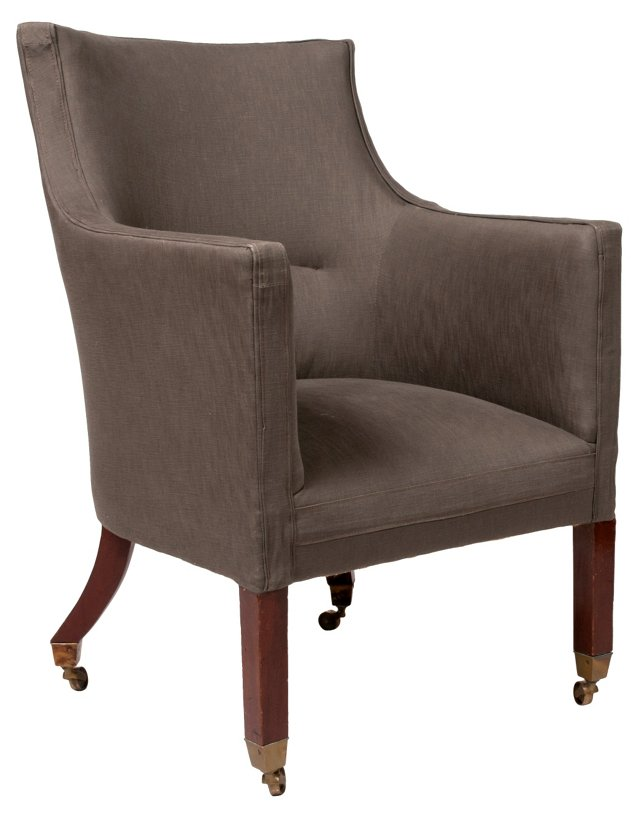 19th-C.  English Upholstered  Chair