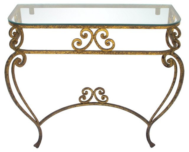 1950s Italian Wrought Iron Console