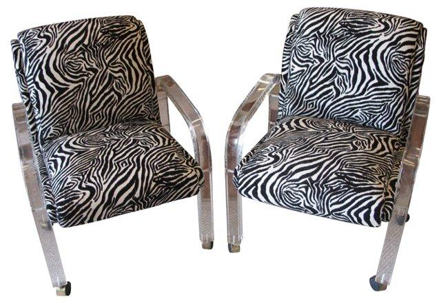 1970s Lucite & Zebra Chairs, Pair