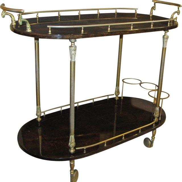 1960s Parchment Bar Cart by Aldo Tura