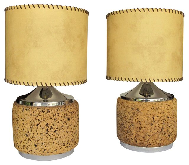 1960s Laurel Cork Lamps, Pair
