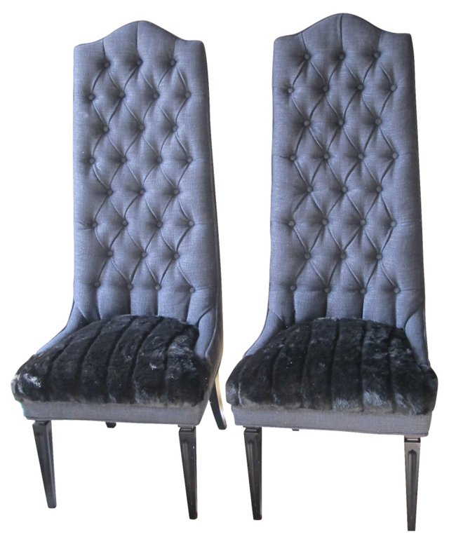 1960s Tufted High-Back Chairs, Pair