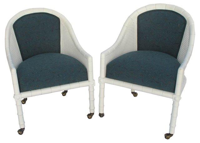 John Widdicomb Faux-Bamboo Chairs, Pair
