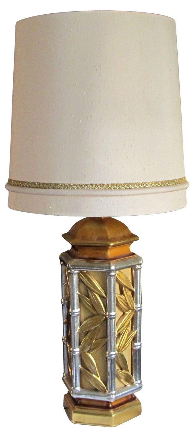 Gold & Silver Bamboo Motif Lamp