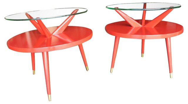 1960s Danish Side Tables, Pair