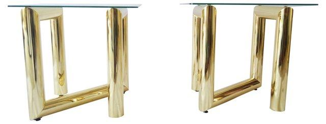Karl Springer-Style Brass Tables, Pair