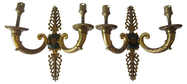 Bronze Empire-Style Sconces, Pair