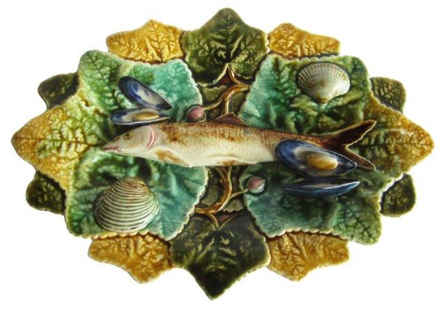 Majolica Palissy-Style Wall Fish Platter