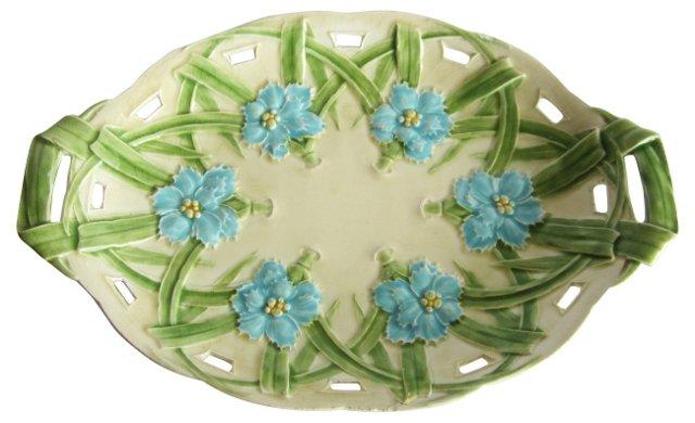 Majolica Blue Flowers Platter