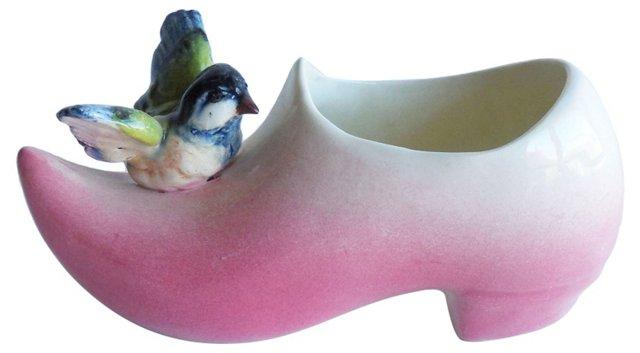 Pink Majolica Bird Clog