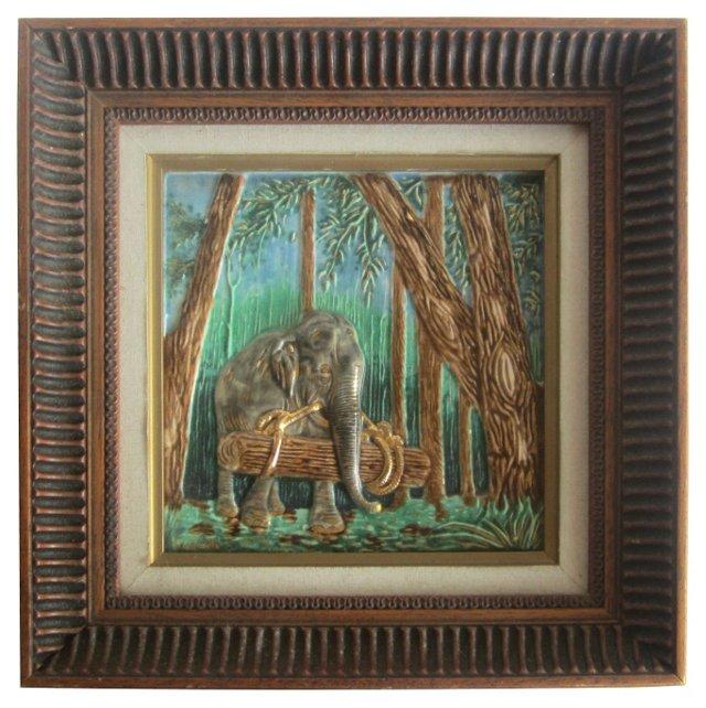 Majolica Framed Elephant Tile