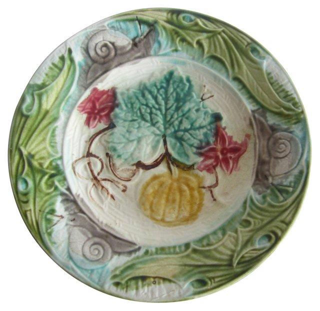 Majolica Snail & Pumpkin Wall Plate