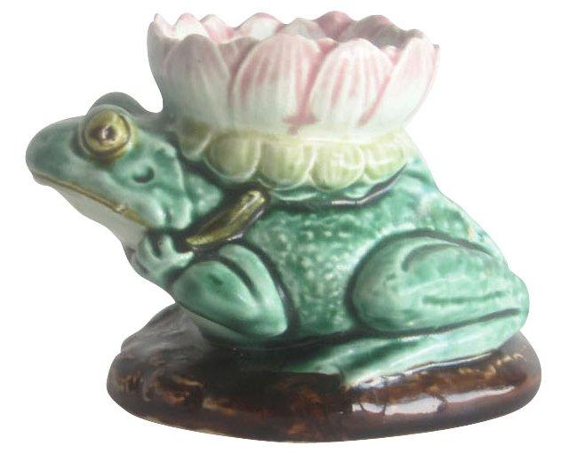 Majolica Frog Candlestick
