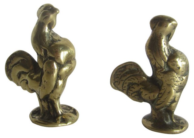 Brass Roosters, Pair