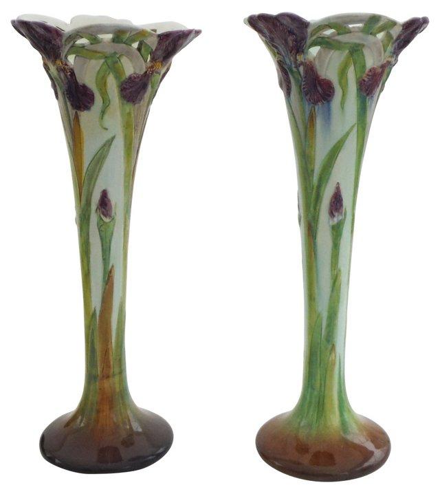 Majolica Iris Vases, Pair