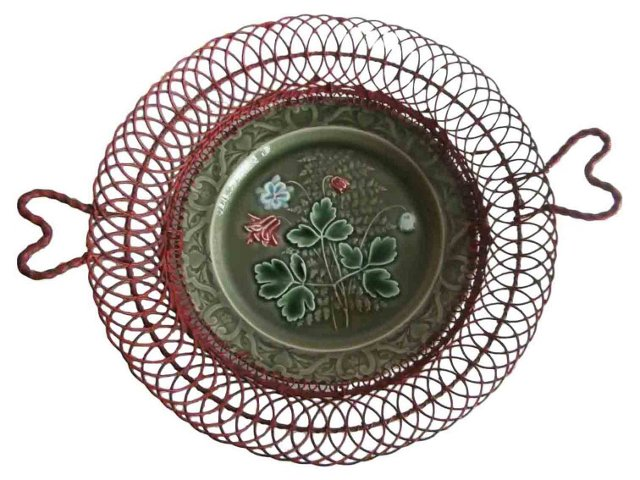Majolica Red & Green Wire Basket