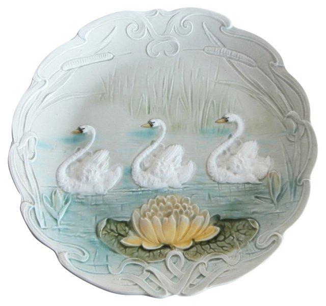 Majolica Swan Wall Platter