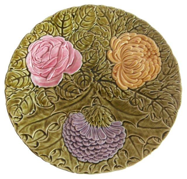 Majolica Flowers Wall Platter
