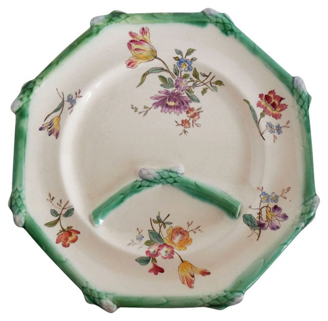 Majolica Asparagus   Flowers Wall Plate