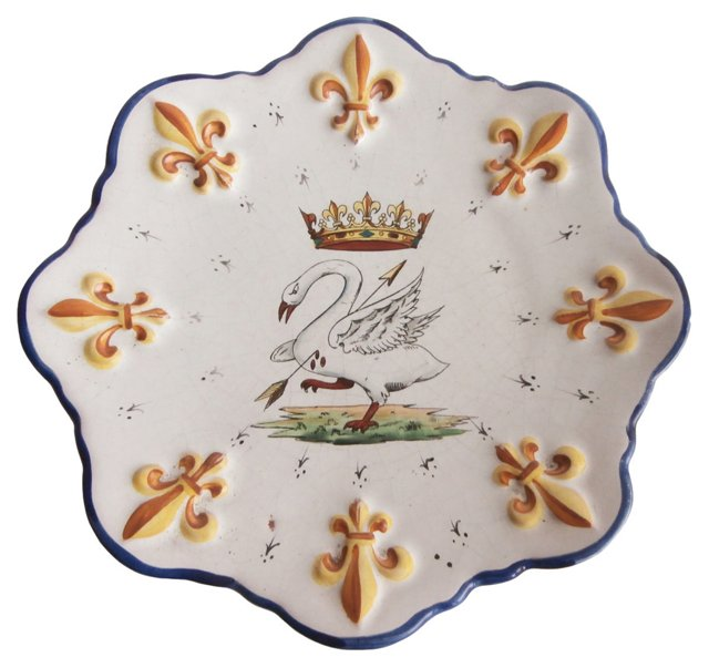 French Faience Swan Wall Plate