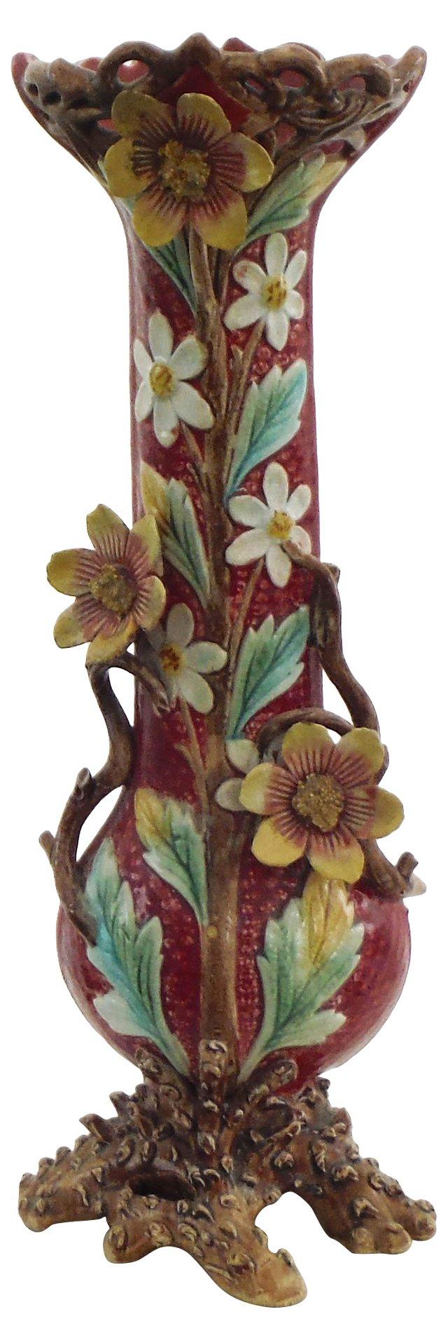 Majolica Yellow Flowers Vase