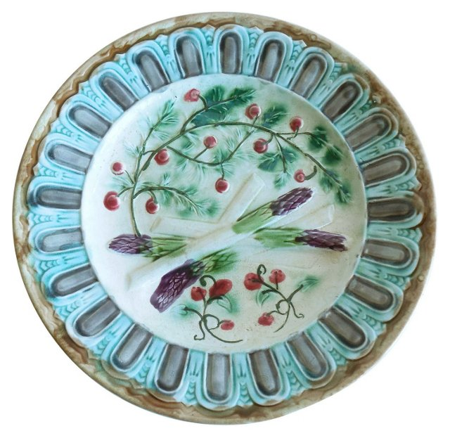 Majolica Berries & Asparagus Wall Plate