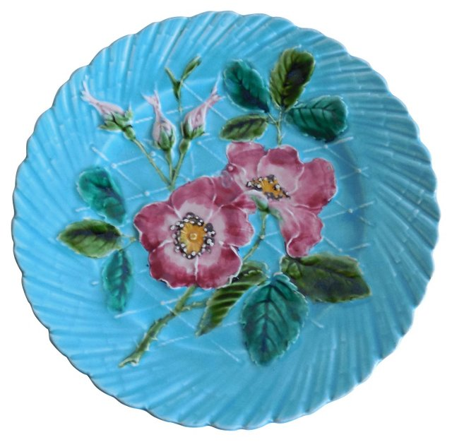 Majolica Turquoise Wild Rose Wall Plate