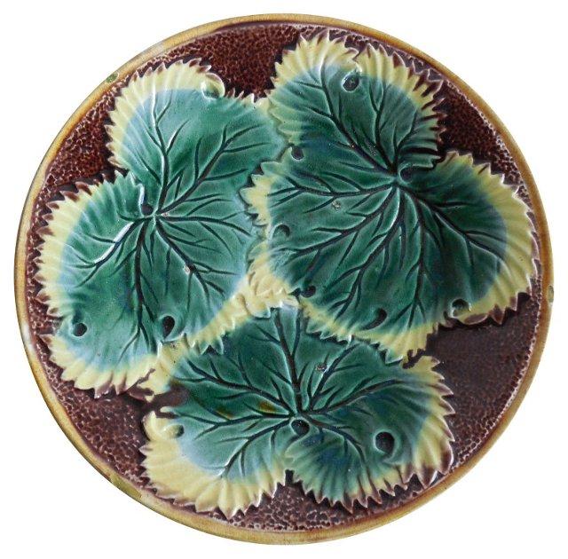 Majolica English Leaves Wall Plate