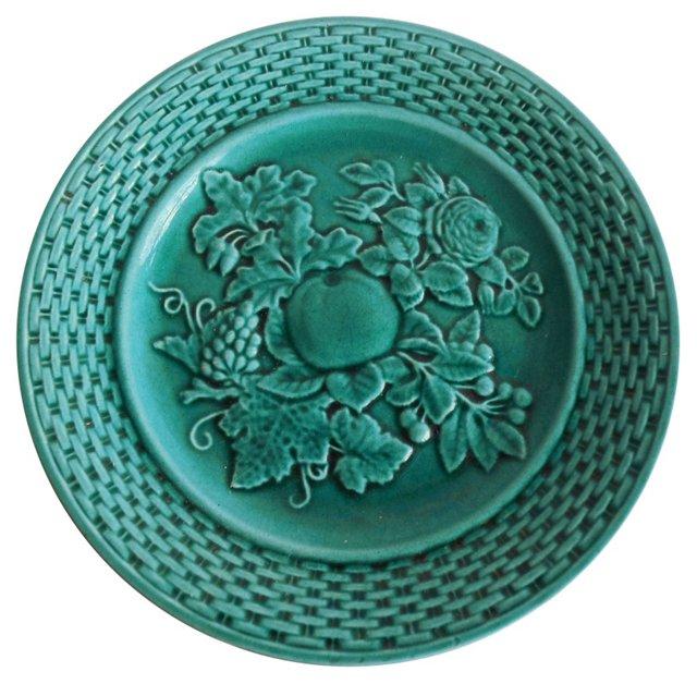 Green Majolica Fruit Wall Plate