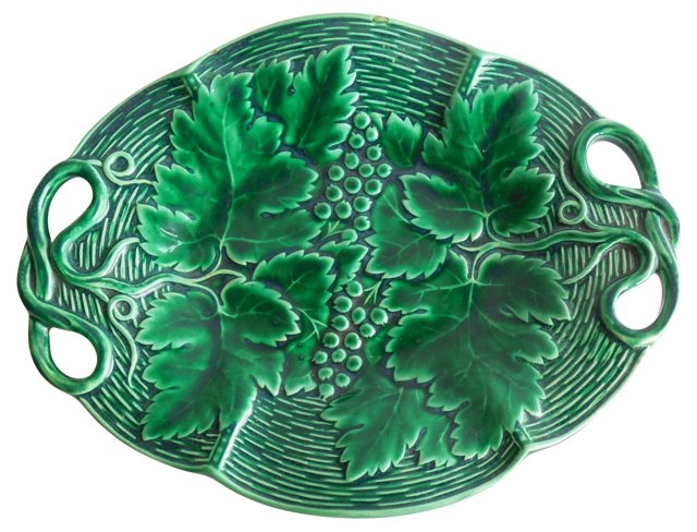 Green Majolica Leaves Wall Platter
