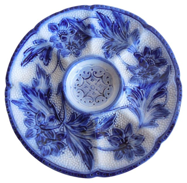 Majolica Blue & White Oyster Wall Plate