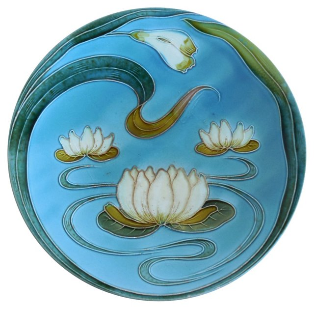 Majolica White Water Lily Wall Platter