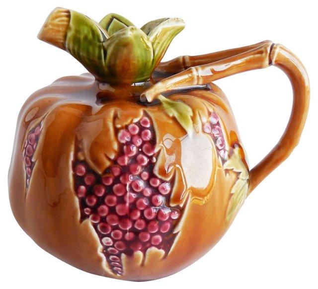Majolica Pomegranate Pitcher