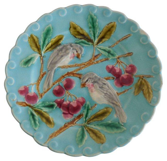 Majolica Birds Cherries Wall Plate